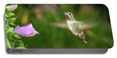 Portable Battery Charger featuring the photograph Hummingbird Hovering In Rain by William Lee