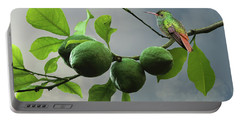 Hummingbird In Lime Tree Portable Battery Charger