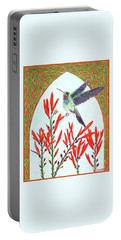 Portable Battery Charger featuring the painting Hummingbird In Opening by Lise Winne