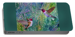 Portable Battery Charger featuring the painting Hummingbird Pair by Nancy Jolley
