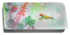 Portable Battery Charger featuring the digital art Hummingbird Summer by Christina Lihani