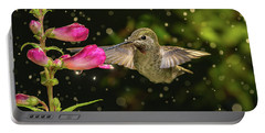 Portable Battery Charger featuring the photograph Hummingbird Visits Flowers In Raining Day by William Lee