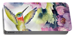 Hummingbird With Pink Flowers Portable Battery Charger