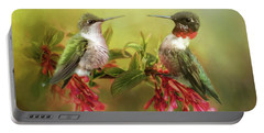 Hummingbirds And Blossoms Portable Battery Charger