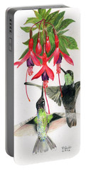 Hummingbirds And Fuchsia Portable Battery Charger