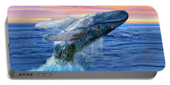 Humpback Whale Breaching At Sunset Portable Battery Charger