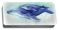 Humpback Whale Mom And Baby Watercolor Portable Battery Charger