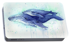 Humpback Whale Mom And Baby Watercolor Portable Battery Charger by Olga Shvartsur