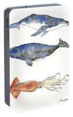 Humpback Whale, Right Whale And Squid Portable Battery Charger by Juan Bosco