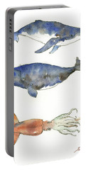 Humpback Whale, Right Whale And Squid Portable Battery Charger