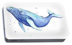 Humpback Whale Watercolor Portable Battery Charger by Olga Shvartsur