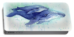 Humpback Whales Mom And Baby Watercolor Painting - Facing Right Portable Battery Charger