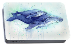 Humpback Whales Mom And Baby Watercolor Painting - Facing Right Portable Battery Charger by Olga Shvartsur
