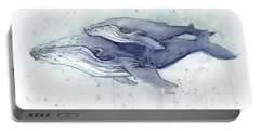Humpback Whales Painting Watercolor - Grayish Version Portable Battery Charger