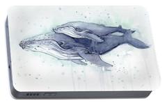 Humpback Whales Painting Watercolor - Grayish Version Portable Battery Charger by Olga Shvartsur