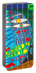 Hundertwasser Blue Moon Atlantis Escape To Outer Space In 3d By J.j.b Portable Battery Charger