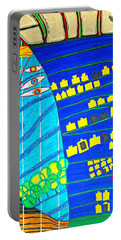 Hundertwasser Blue Moon Atlantis Escape To Outer Space Portable Battery Charger