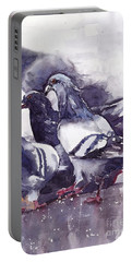 Hungry Pigeons Watercolor Portable Battery Charger