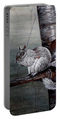 Portable Battery Charger featuring the painting Hungry Squirrel by Judy Kirouac