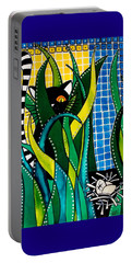 Hunter In Camouflage - Cat Art By Dora Hathazi Mendes Portable Battery Charger by Dora Hathazi Mendes