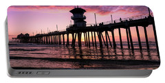 Huntington Pier At Sunset 2 Portable Battery Charger