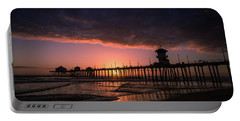 Huntington Pier At Sunset Portable Battery Charger