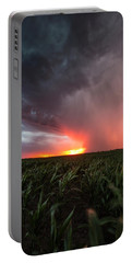 Portable Battery Charger featuring the photograph Huron Lightning  by Aaron J Groen