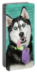 Husky With Tie Portable Battery Charger by Stephanie Hayes
