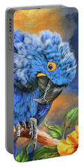 Hyacinth Macaw Portable Battery Charger by Carol Cavalaris