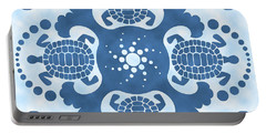 Hybiscus And Turtle Hawaiian Quilt Block Portable Battery Charger