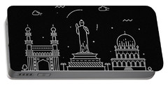 Hyderabad Skyline Travel Poster Portable Battery Charger