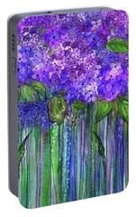 Portable Battery Charger featuring the mixed media Hydrangea Bloomies 1 - Purple by Carol Cavalaris