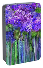 Portable Battery Charger featuring the mixed media Hydrangea Bloomies 2 - Purple by Carol Cavalaris