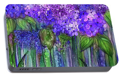 Portable Battery Charger featuring the mixed media Hydrangea Bloomies 3 - Purple by Carol Cavalaris