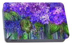Portable Battery Charger featuring the mixed media Hydrangea Bloomies 4 - Purple by Carol Cavalaris