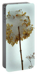 Hydrangea Blossom In Snow Portable Battery Charger