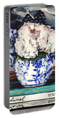 Hydrangeas In Blue And White Chinoiserie Melon Vase With Books Portable Battery Charger