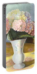 Portable Battery Charger featuring the painting Hydrangeas by Marlene Book