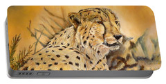 I Am Cheetah Portable Battery Charger by Marilyn  McNish