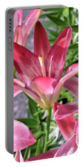 Exquisite Pink Lilies Portable Battery Charger