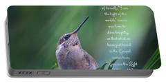 Portable Battery Charger featuring the photograph I Am The Light Of The World by Debby Pueschel