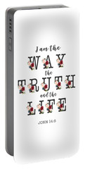 Portable Battery Charger featuring the painting I Am The Way The Truth And The Life Typography by Georgeta Blanaru