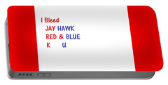 Portable Battery Charger featuring the photograph i bleed JAYHawk by Aaron Martens