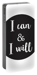 I Can And I Will - Motivational Print Portable Battery Charger
