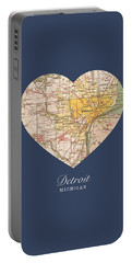 I Heart Detroit Michigan Vintage City Street Map Americana Series No 001 Portable Battery Charger