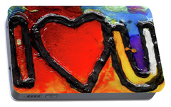 Portable Battery Charger featuring the painting I Heart You by Genevieve Esson