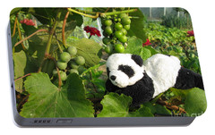 Portable Battery Charger featuring the photograph I Love Grapes Says The Panda by Ausra Huntington nee Paulauskaite