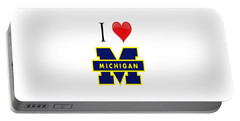 I Love Michigan Portable Battery Charger by Pat Cook