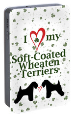 Portable Battery Charger featuring the digital art I Love My Soft Coated Wheaten Terriers by Rebecca Cozart