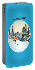 I Love Skiing  Portable Battery Charger by Bill Holkham